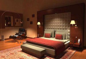 Турецкий ковер в интерьере современной спальни