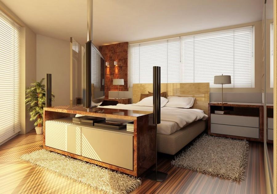 ковер в спальне на полу фото