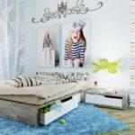 Svetlo_goluboy_kover_v_detskoy_Светло голубой ковер в детской