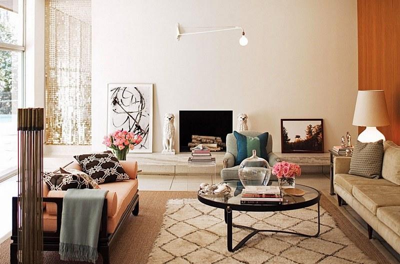 Марокканский ковер в интерьере гостиной