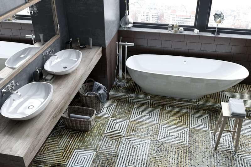 Мозаика на полу в ванной комнате