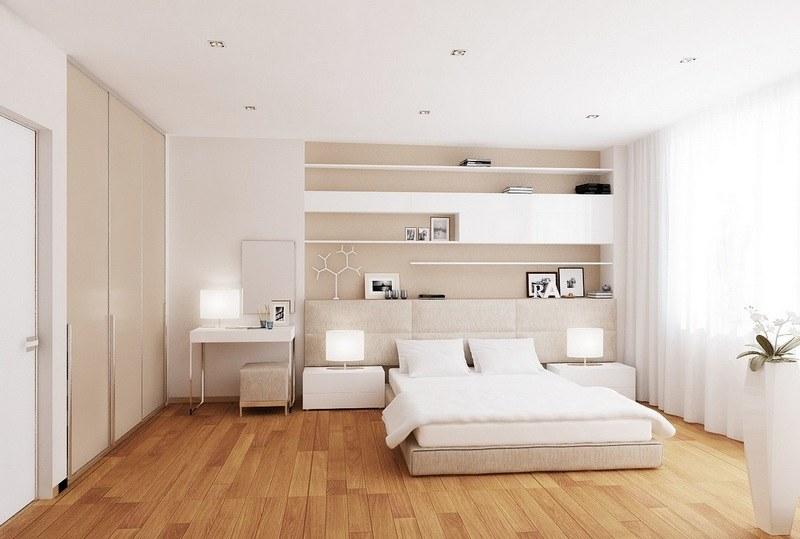 Светло коричневый ламинат в спальне