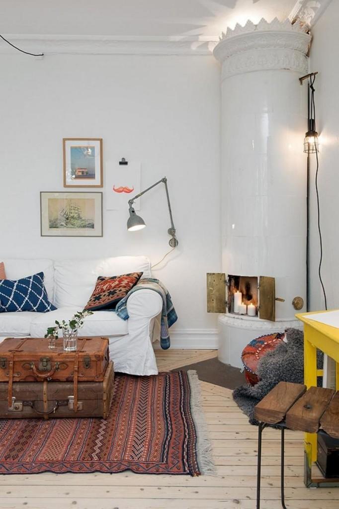Восточный ковер килим в скандинавском интерьере