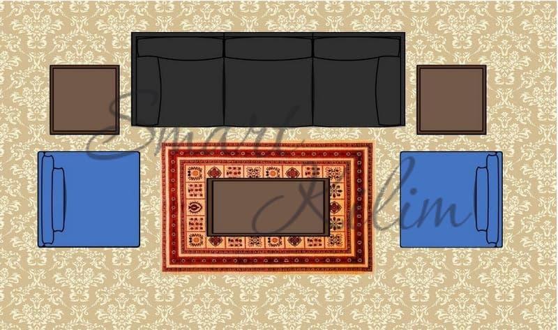 Ковер на ковролине перед диваном и креслами в гостиной