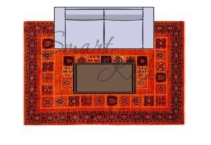 Маленький диван и журнальный столик на ковре