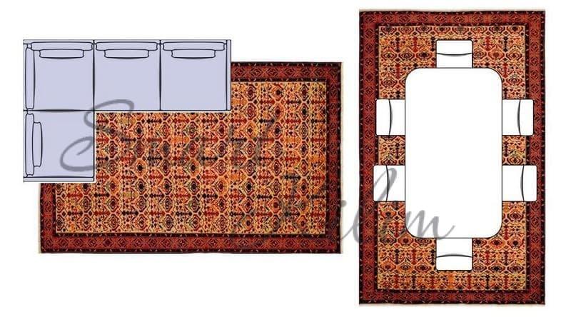 Два ковра на полу в гостиной у дивана и под столом
