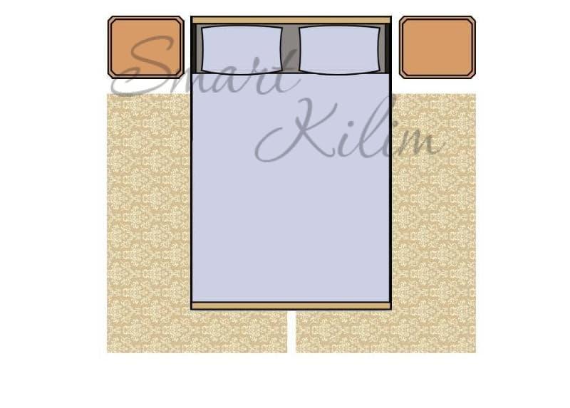 Два ковра под кроватью в спальне