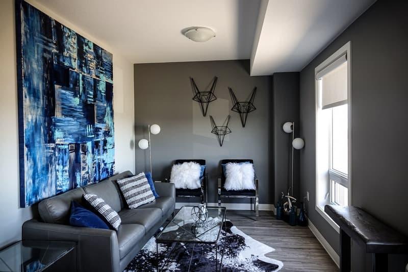 Серый интерьер в гостиной фото