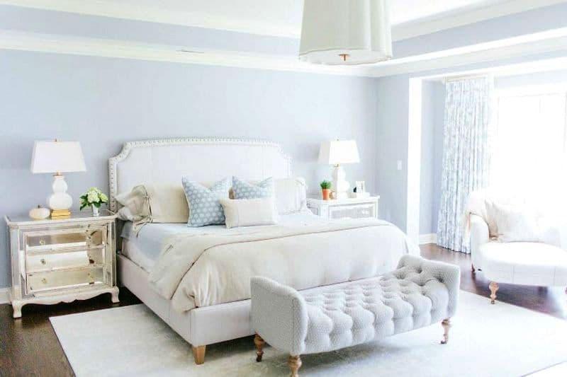 Спальня голубого цвета фото
